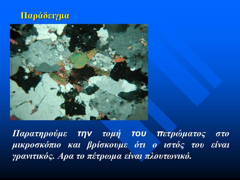 Παράδειγμα Παρατηρούμε την τομή του πετρώματος στο μικροσκόπιο και βρίσκουμε ότι ο ιστός του είναι γρανιτικός.