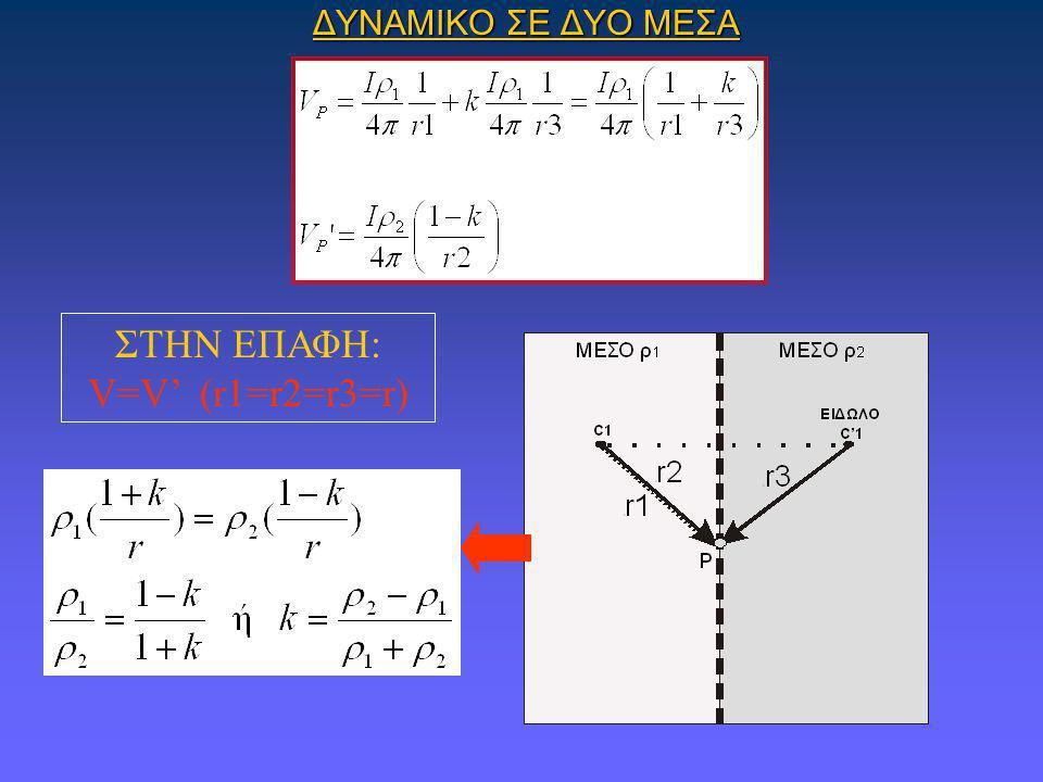 ΔΥΝΑΜΙΚΟ ΣΕ ΔΥΟ ΜΕΣΑ ΣΤΗΝ ΕΠΑΦΗ: V=V' (r1=r2=r3=r)