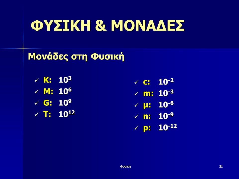ΦΥΣΙΚΗ & ΜΟΝΑΔΕΣ Μονάδες στη Φυσική Κ: 103 c: 10-2 Μ: 106 m: 10-3