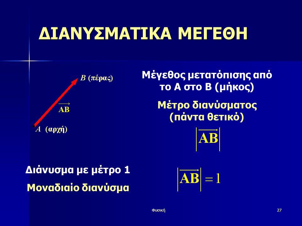 ΔΙΑΝΥΣΜΑΤΙΚΑ ΜΕΓΕΘΗ Μέγεθος μετατόπισης από το Α στο Β (μήκος)