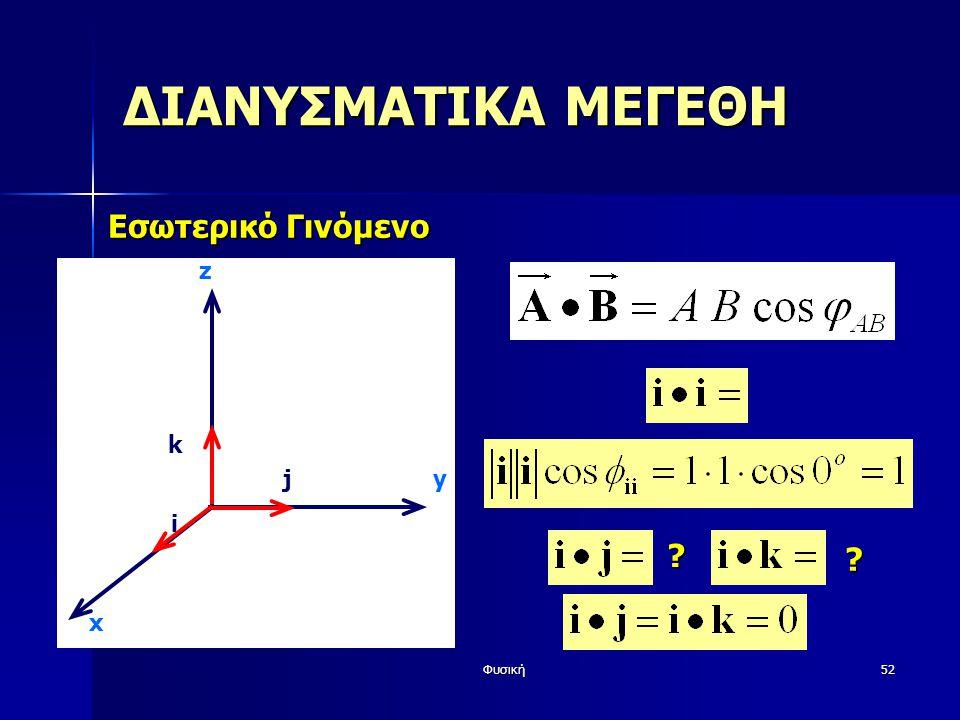 ΔΙΑΝΥΣΜΑΤΙΚΑ ΜΕΓΕΘΗ Εσωτερικό Γινόμενο z k j y i x Φυσική