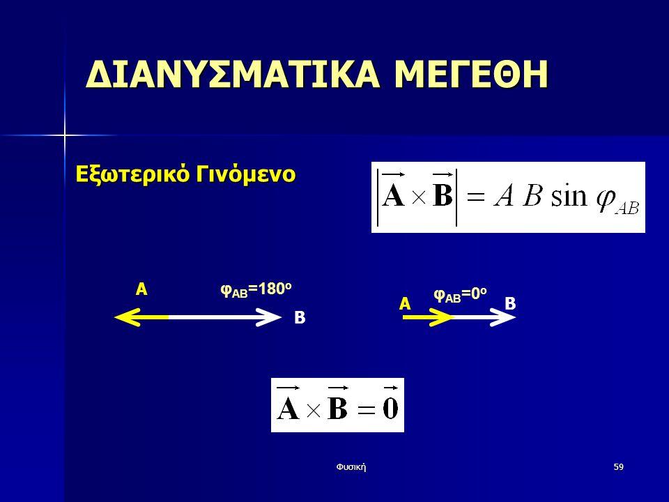 ΔΙΑΝΥΣΜΑΤΙΚΑ ΜΕΓΕΘΗ Εξωτερικό Γινόμενο A φAB=180o Β A Β φAB=0o Φυσική