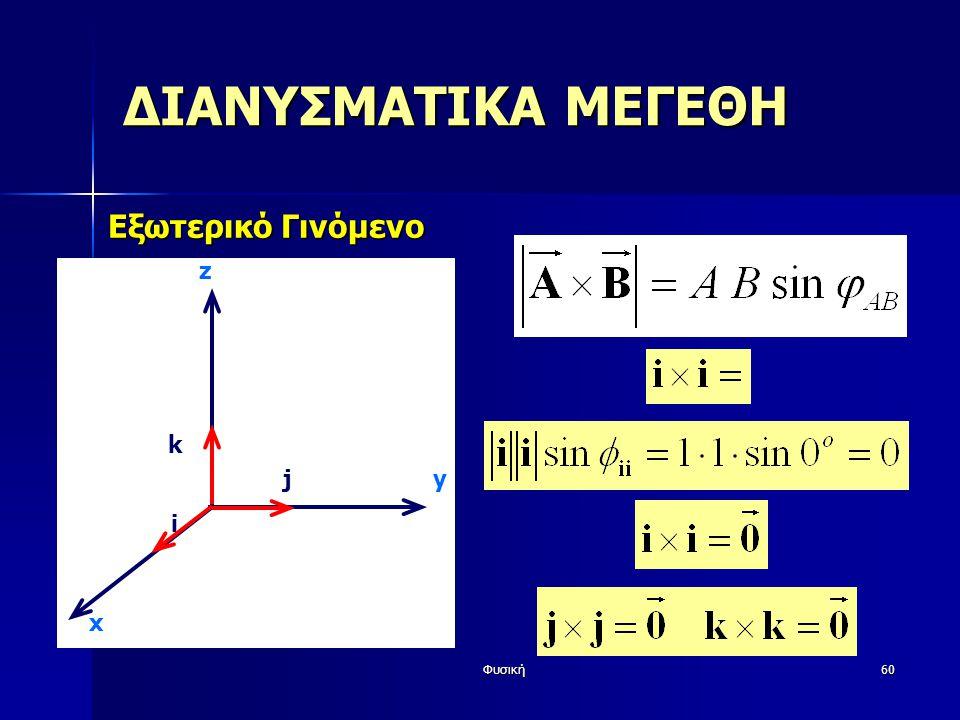 ΔΙΑΝΥΣΜΑΤΙΚΑ ΜΕΓΕΘΗ Εξωτερικό Γινόμενο z k j y i x Φυσική