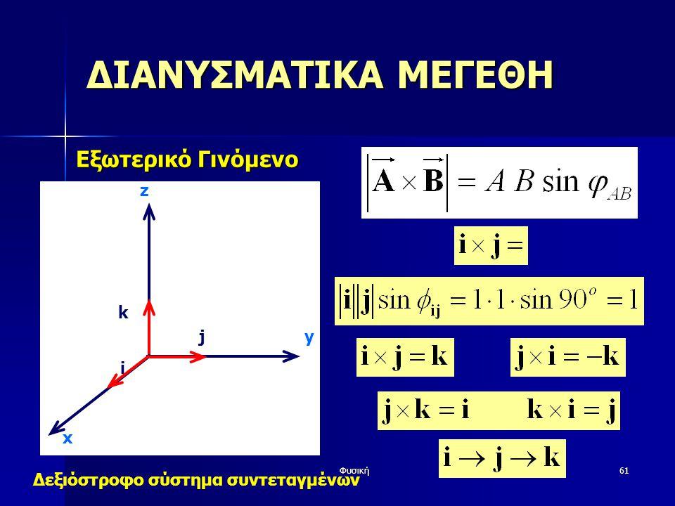 ΔΙΑΝΥΣΜΑΤΙΚΑ ΜΕΓΕΘΗ Εξωτερικό Γινόμενο z k j y i x