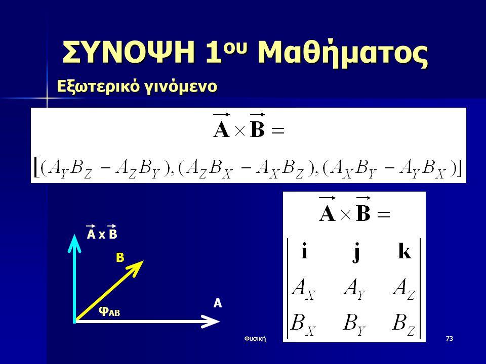 ΣΥΝΟΨΗ 1ου Μαθήματος Εξωτερικό γινόμενο Β φAB Α A X Β Φυσική