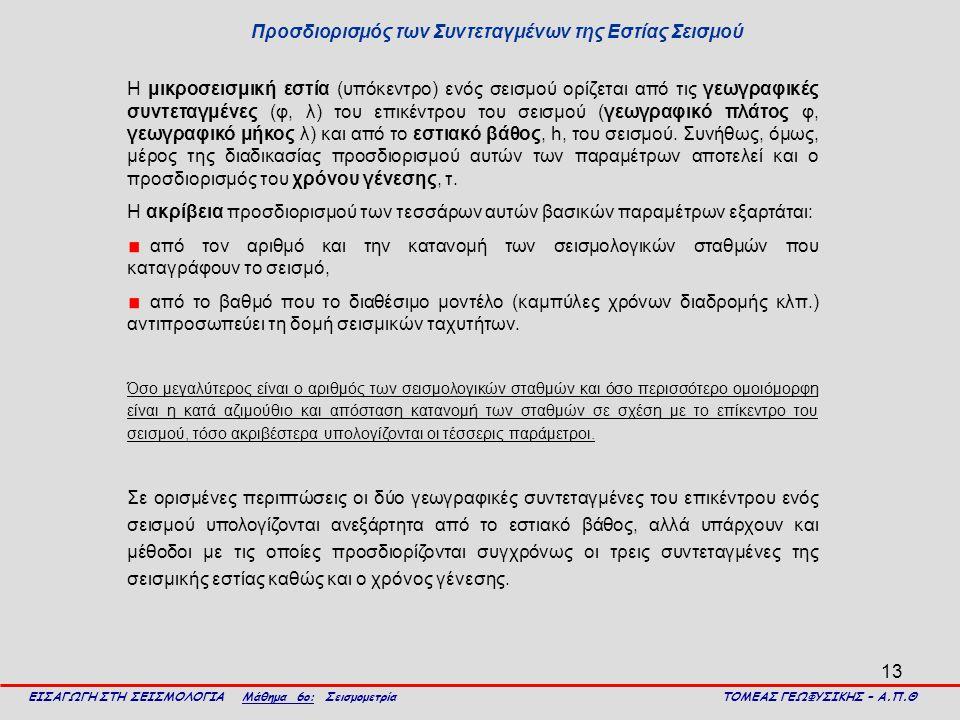 Προσδιορισμός των Συντεταγμένων της Εστίας Σεισμού