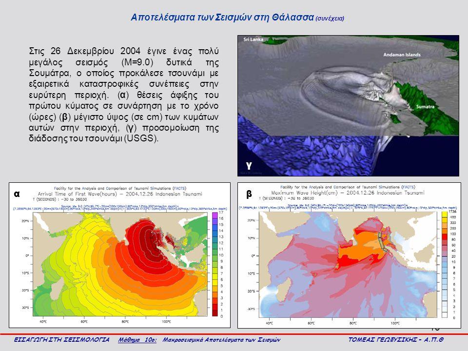 Αποτελέσματα των Σεισμών στη Θάλασσα (συνέχεια)