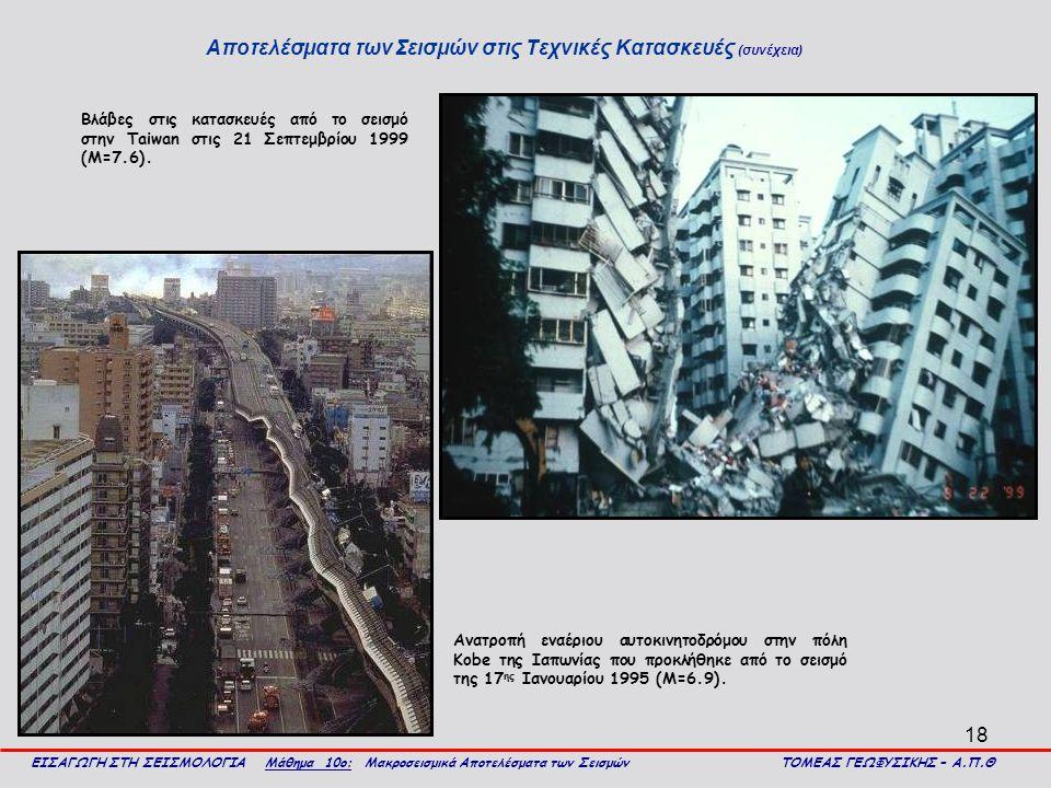 Αποτελέσματα των Σεισμών στις Τεχνικές Κατασκευές (συνέχεια)