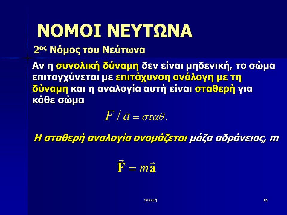 ΝΟΜΟΙ ΝΕΥΤΩΝΑ 2ος Νόμος του Νεύτωνα