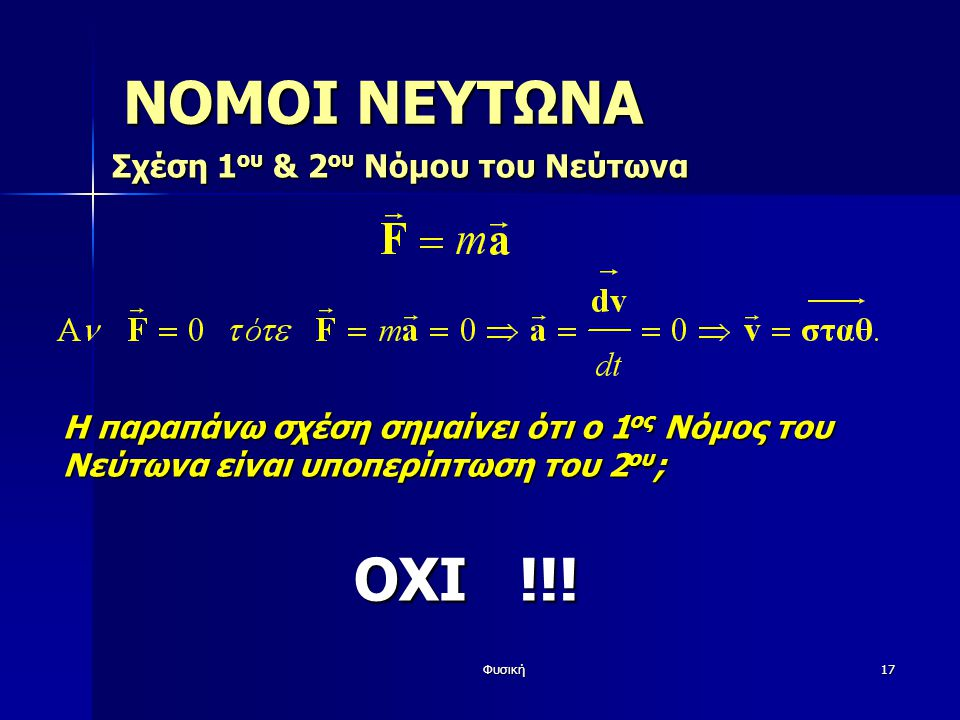 ΝΟΜΟΙ ΝΕΥΤΩΝΑ ΟΧΙ !!! Σχέση 1ου & 2ου Νόμου του Νεύτωνα