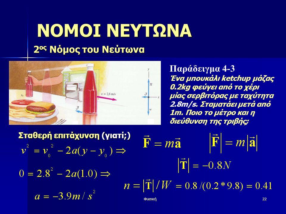 ΝΟΜΟΙ ΝΕΥΤΩΝΑ 2ος Νόμος του Νεύτωνα Παράδειγμα 4-3