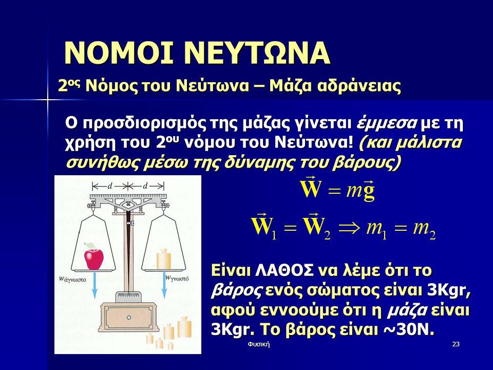 ΝΟΜΟΙ ΝΕΥΤΩΝΑ 2ος Νόμος του Νεύτωνα – Μάζα αδράνειας