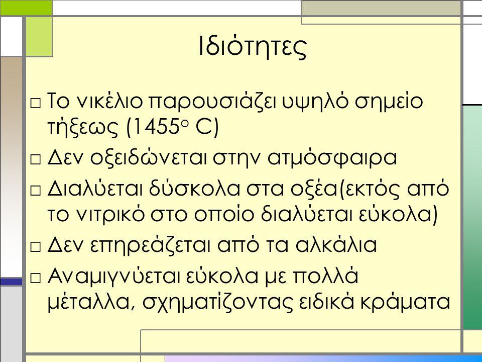 Ιδιότητες Το νικέλιο παρουσιάζει υψηλό σημείο τήξεως (1455ο C)
