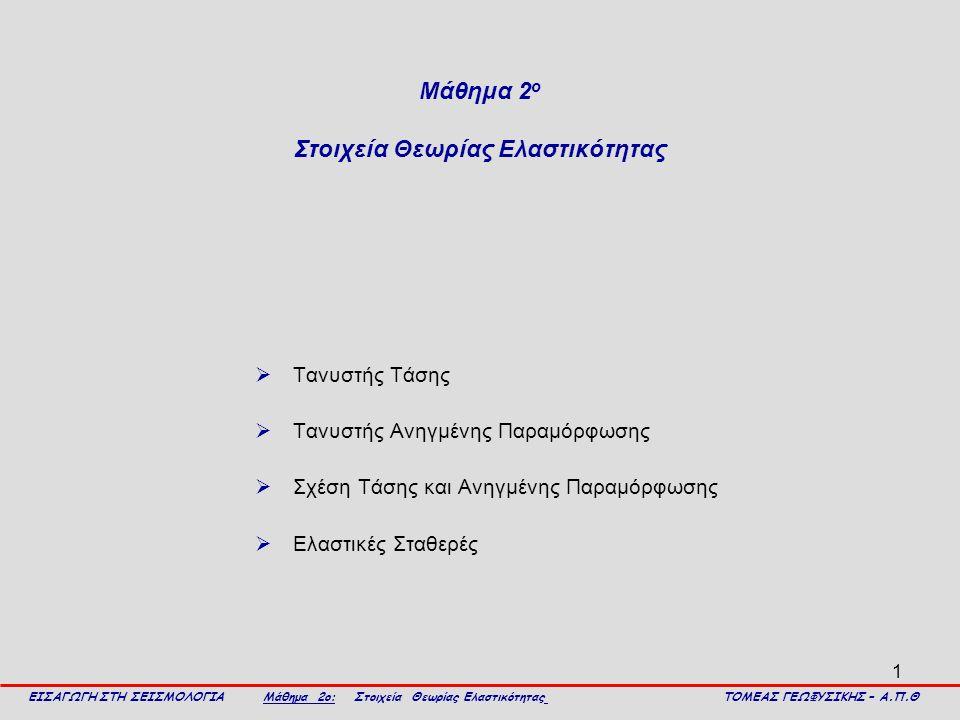 Μάθημα 2ο Στοιχεία Θεωρίας Ελαστικότητας