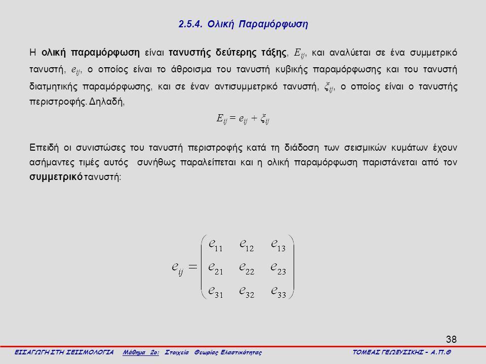 Εij = eij + ξij 2.5.4. Ολική Παραμόρφωση