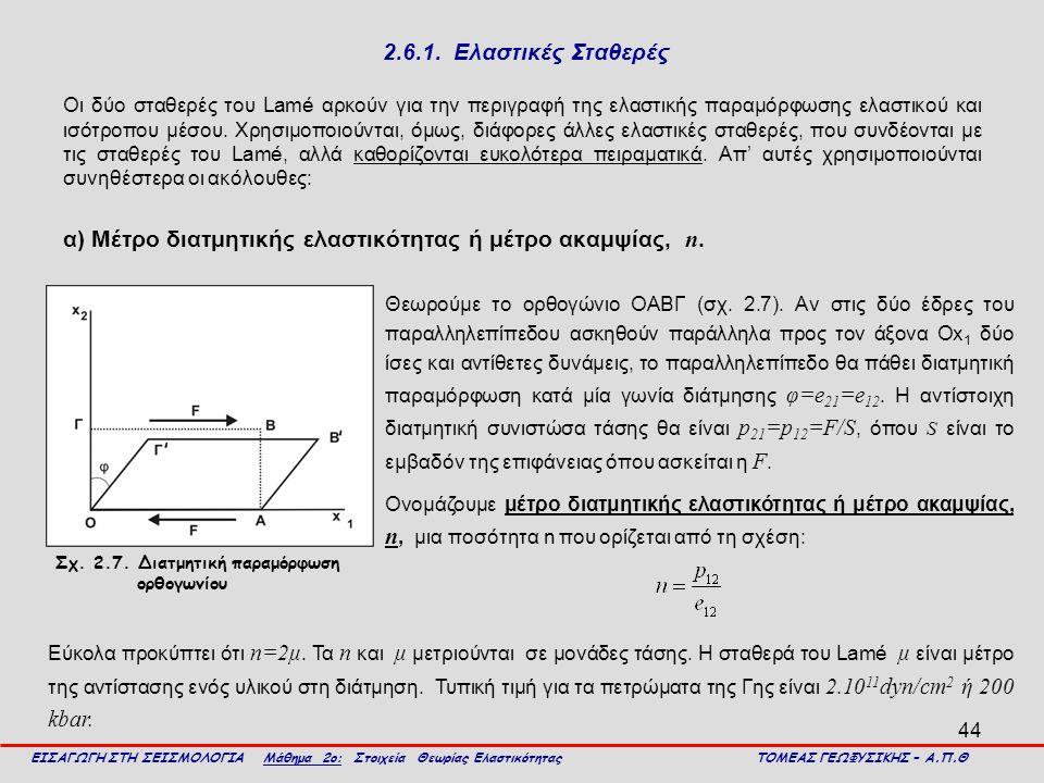 α) Μέτρο διατμητικής ελαστικότητας ή μέτρο ακαμψίας, n.
