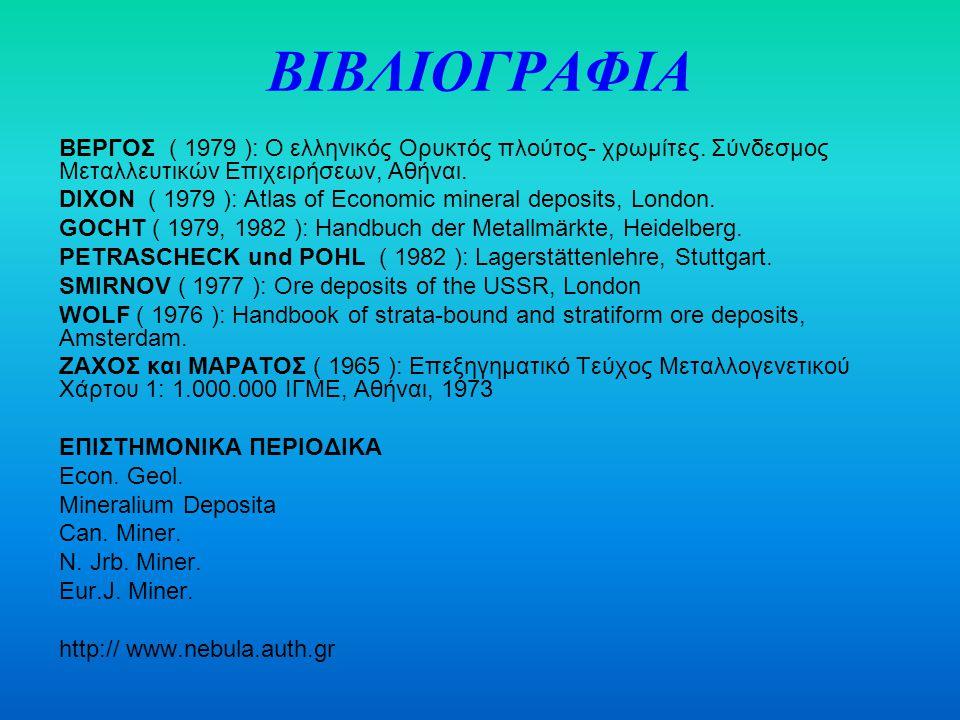 ΒΙΒΛΙΟΓΡΑΦΙΑ ΒΕΡΓΟΣ ( 1979 ): Ο ελληνικός Ορυκτός πλούτος- χρωμίτες. Σύνδεσμος Μεταλλευτικών Επιχειρήσεων, Αθήναι.