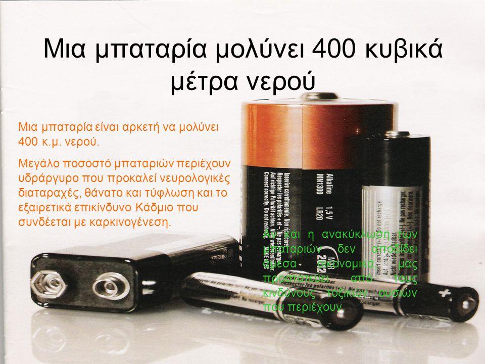 Μια μπαταρία μολύνει 400 κυβικά μέτρα νερού