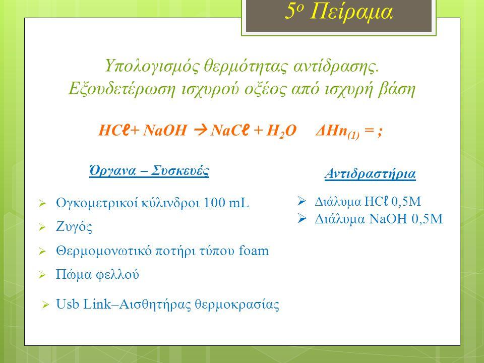 HCℓ+ NaOH  NaCℓ + H2O ΔΗn(1) = ;