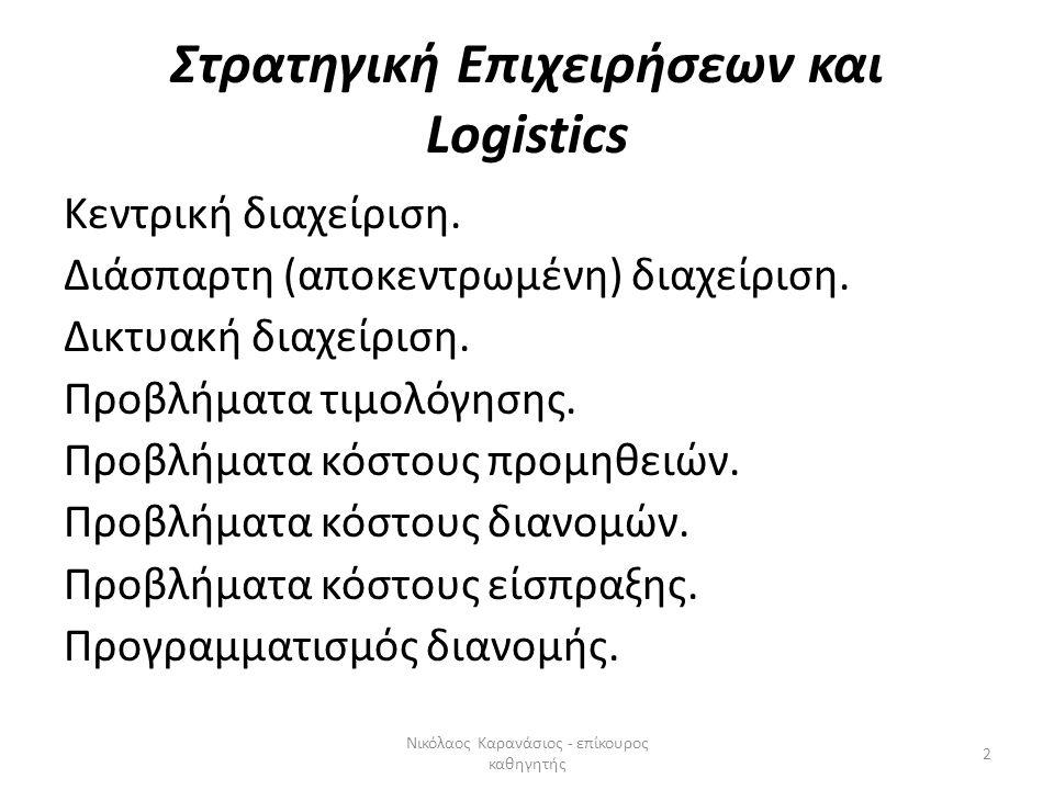 Στρατηγική Επιχειρήσεων και Logistics