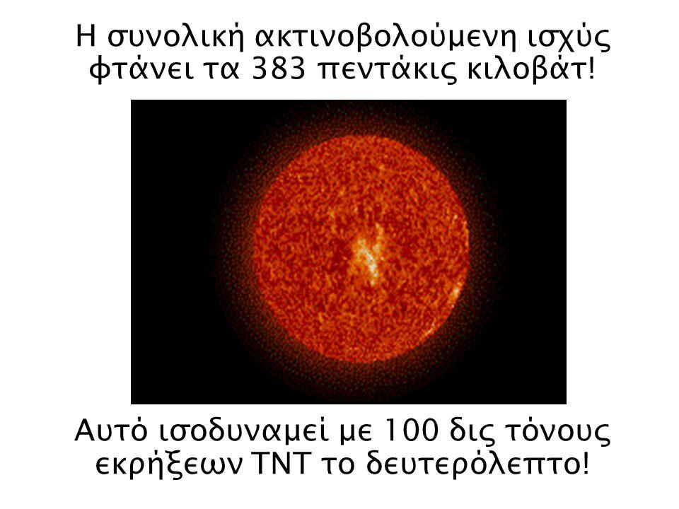 Η συνολική ακτινοβολούμενη ισχύς φτάνει τα 383 πεντάκις κιλοβάτ!
