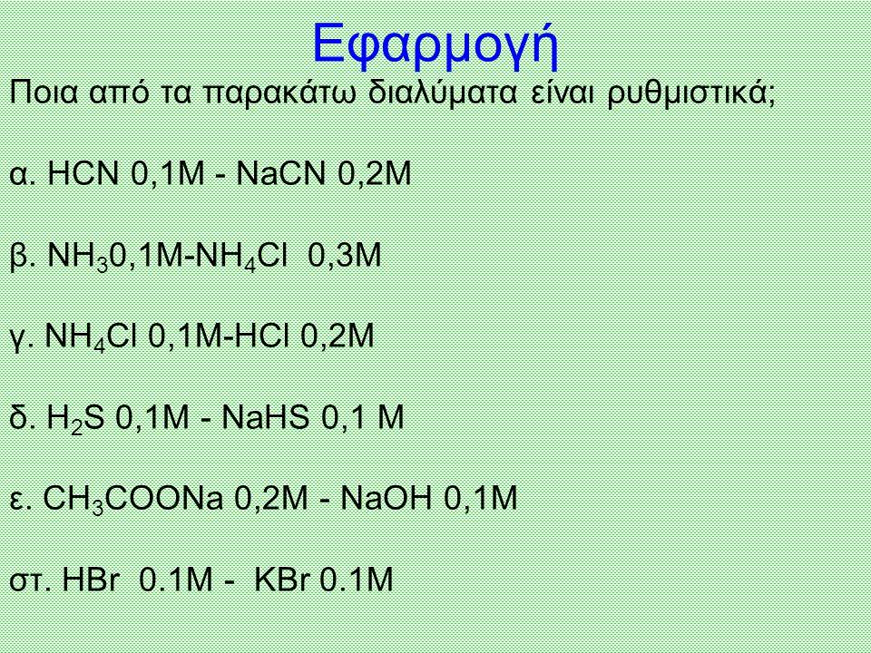 Εφαρμογή Ποια από τα παρακάτω διαλύματα είναι ρυθμιστικά;