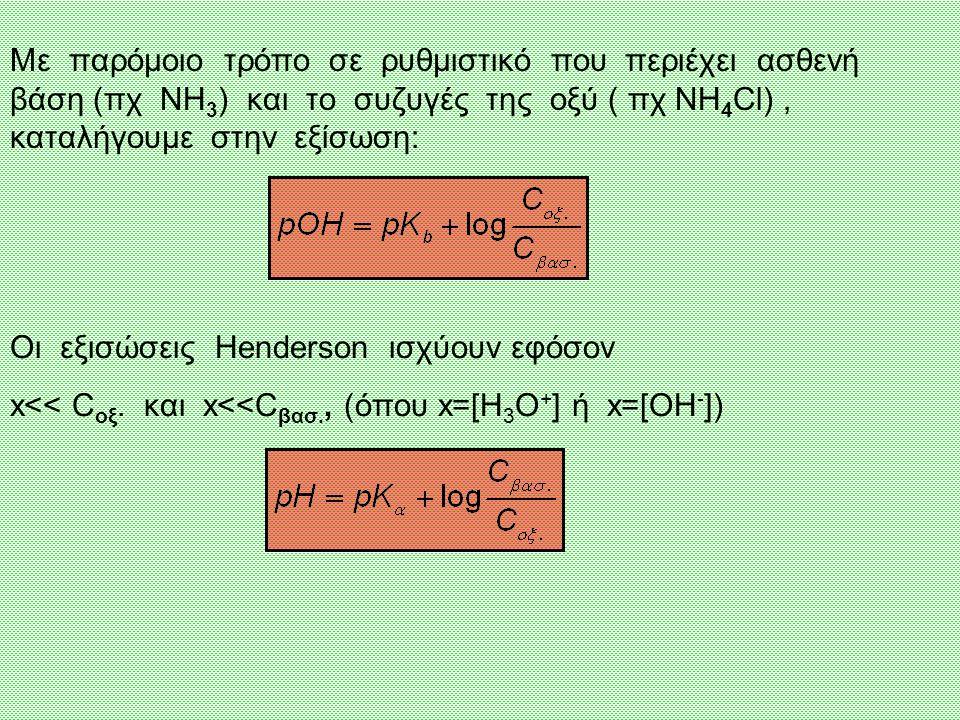 Με παρόμοιο τρόπο σε ρυθμιστικό που περιέχει ασθενή βάση (πχ NH3) και το συζυγές της οξύ ( πχ NH4Cl) , καταλήγουμε στην εξίσωση: