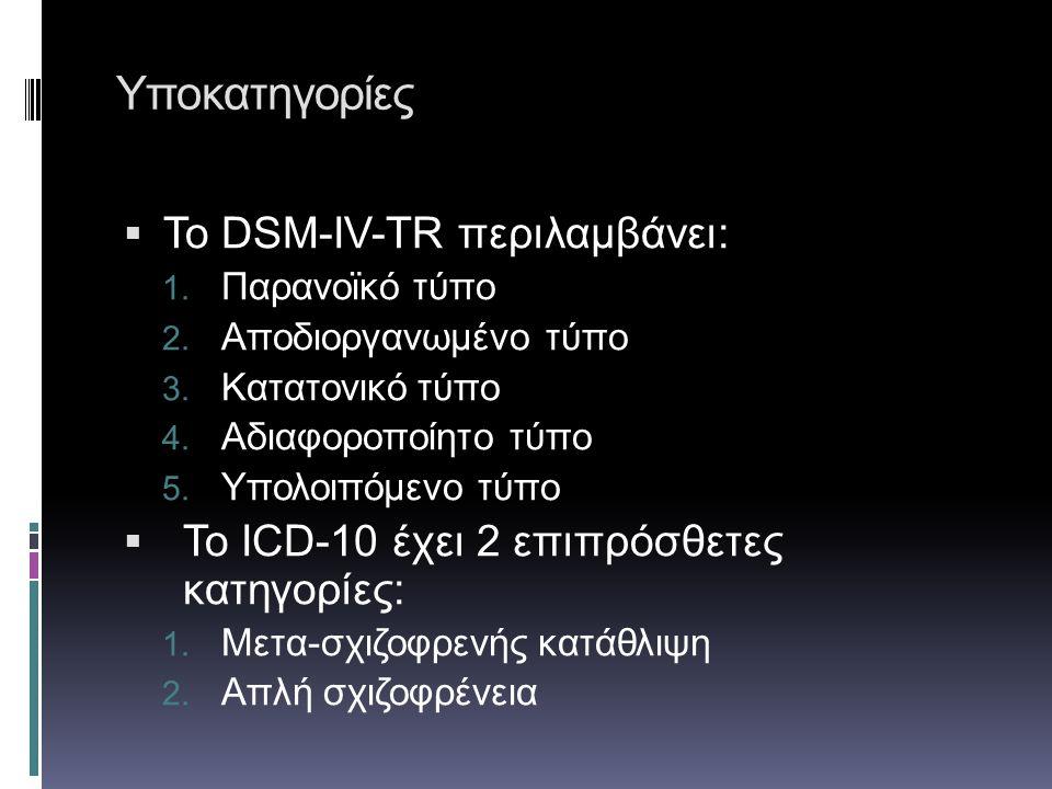 Υποκατηγορίες Το DSM-IV-TR περιλαμβάνει: