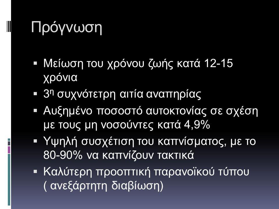 Πρόγνωση Μείωση του χρόνου ζωής κατά 12-15 χρόνια