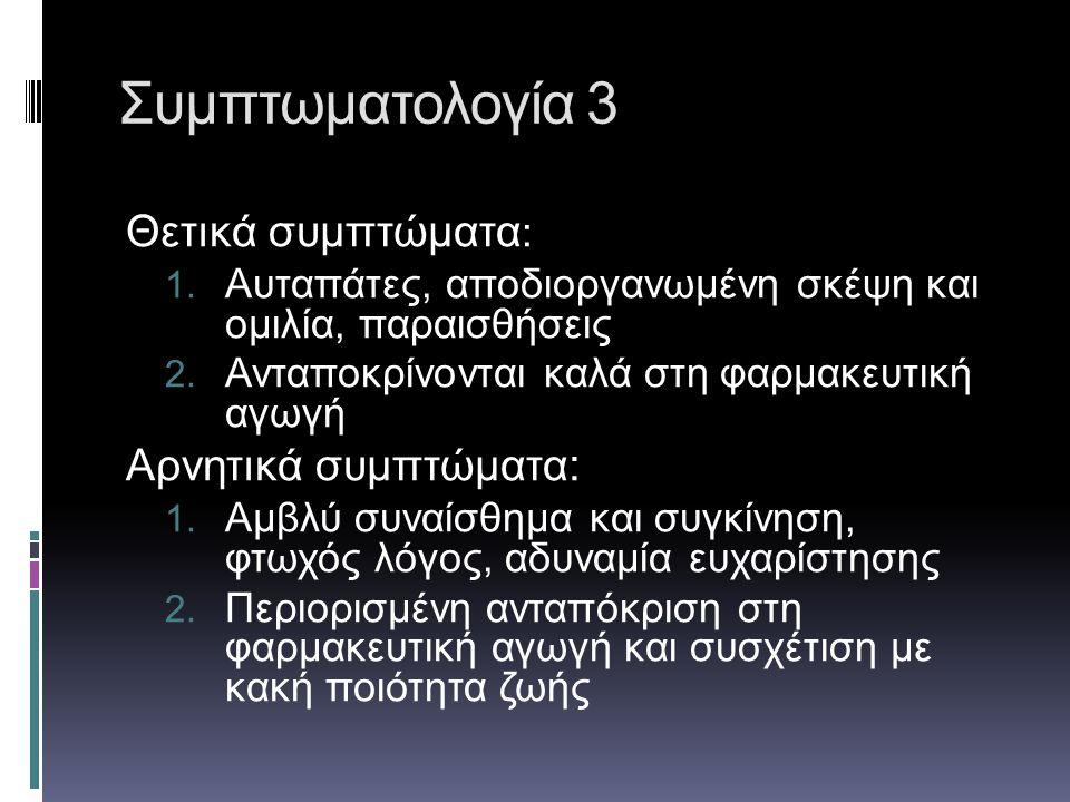 Συμπτωματολογία 3 Θετικά συμπτώματα: Αρνητικά συμπτώματα: