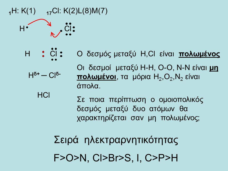 Σειρά ηλεκτραρνητικότητας F>O>N, Cl>Br>S, I, C>P>H