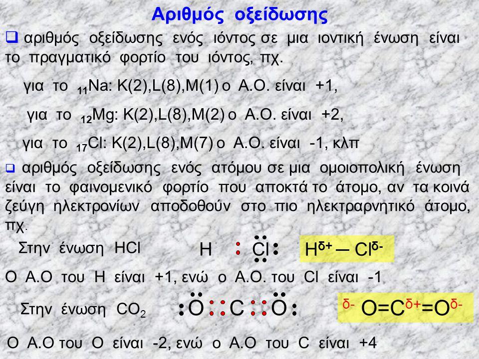 C O δ- O=Cδ+=Oδ- Αριθμός οξείδωσης Cl Η Hδ+ ─ Clδ-