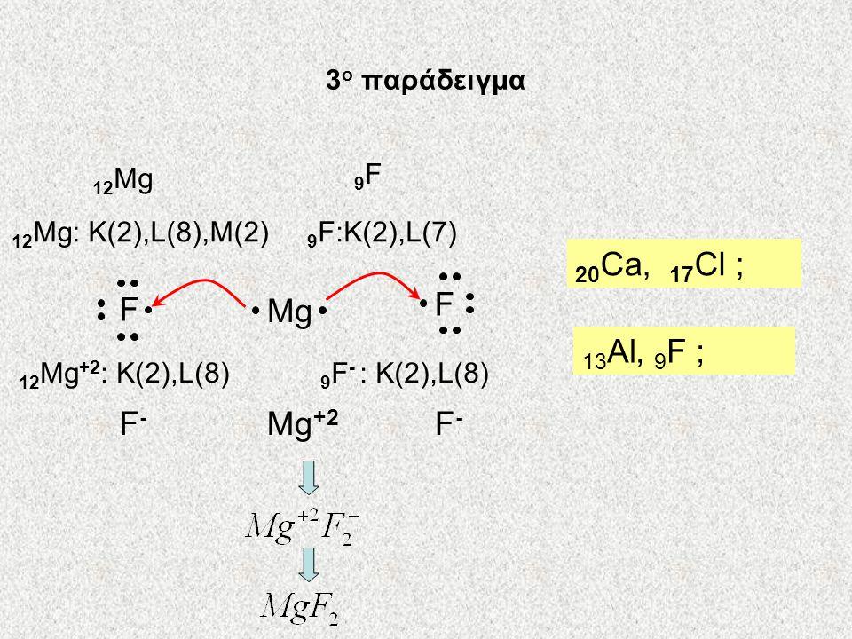 20Ca, 17Cl ; F F Mg 13Al, 9F ; F- Mg+2 F- 3ο παράδειγμα 12Mg 9F