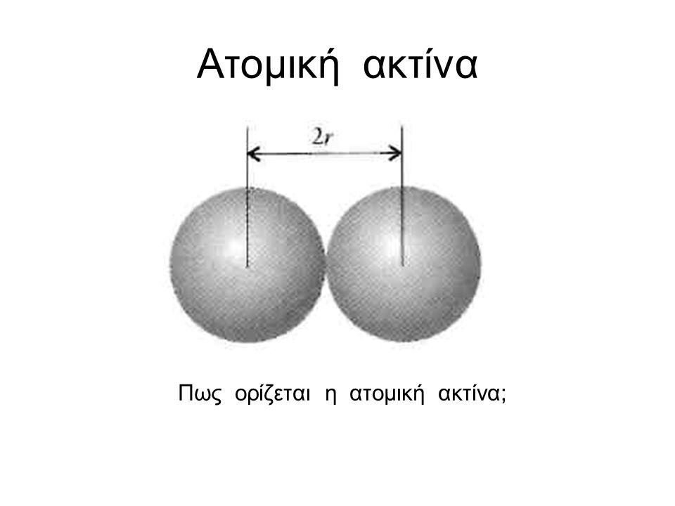 Πως ορίζεται η ατομική ακτίνα;