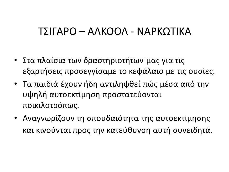 ΤΣΙΓΑΡΟ – ΑΛΚΟΟΛ - ΝΑΡΚΩΤΙΚΑ