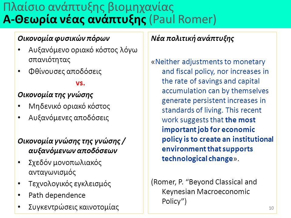 Πλαίσιο ανάπτυξης βιομηχανίας Α-Θεωρία νέας ανάπτυξης (Paul Romer)