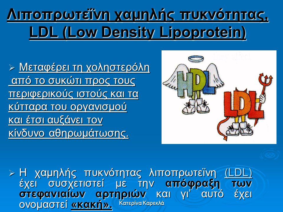 Λιποπρωτεΐνη χαμηλής πυκνότητας, LDL (Low Density Lipoprotein)