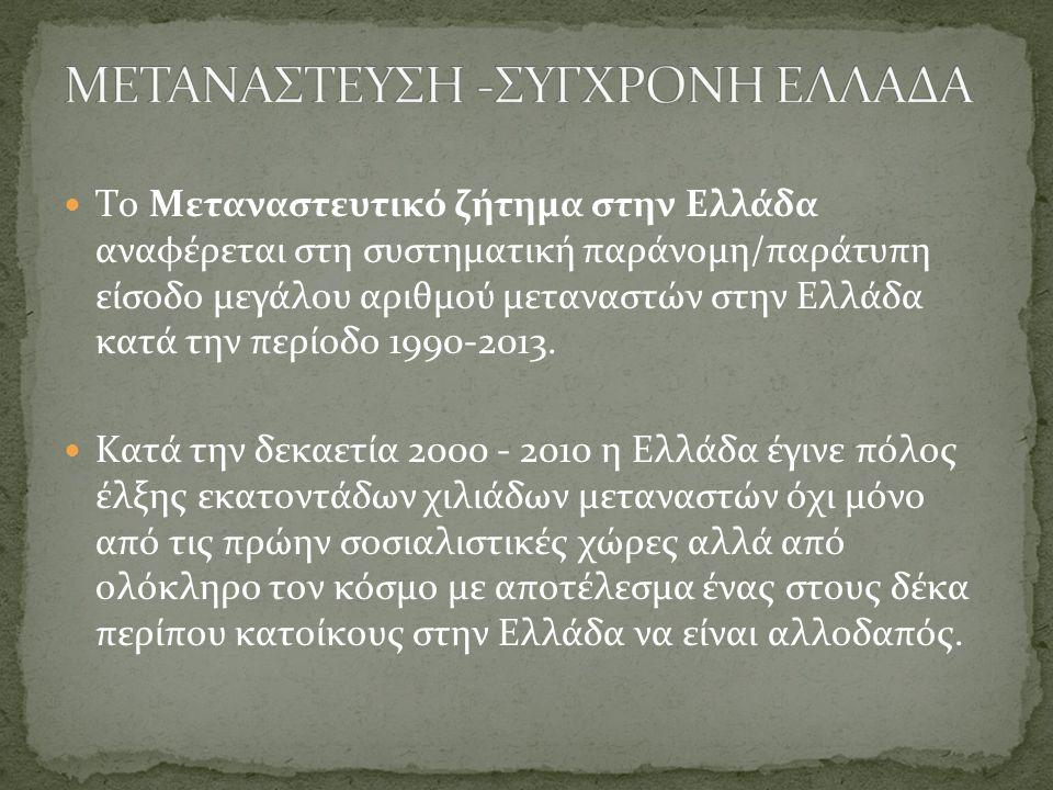 ΜΕΤΑΝΑΣΤΕΥΣΗ -ΣΥΓΧΡΟΝΗ ΕΛΛΑΔΑ