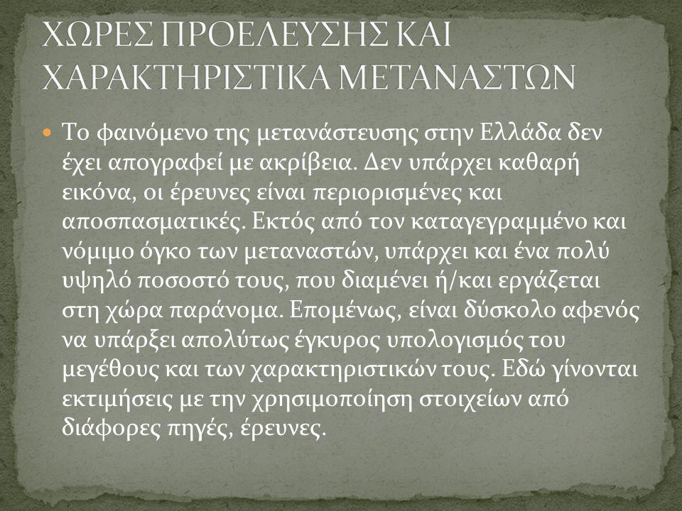 ΧΩΡΕΣ ΠΡΟΕΛΕΥΣΗΣ ΚΑΙ ΧΑΡΑΚΤΗΡΙΣΤΙΚΑ ΜΕΤΑΝΑΣΤΩΝ