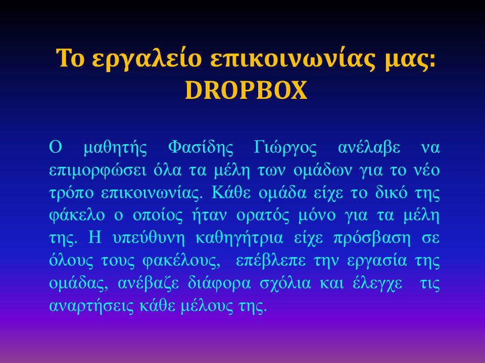 Το εργαλείο επικοινωνίας μας: DROPBOX