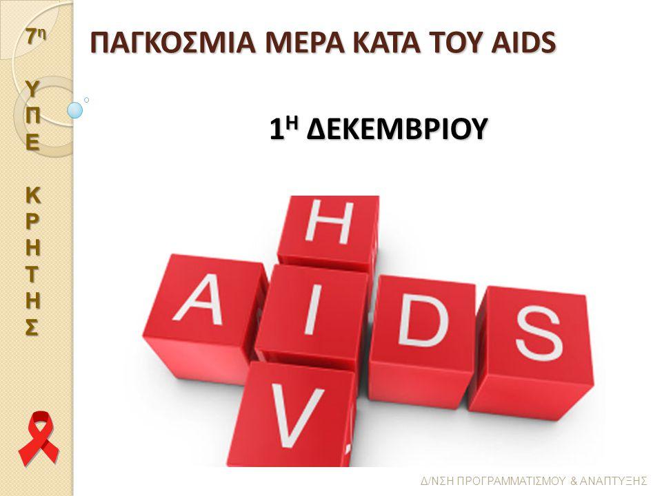 ΠΑΓΚΟΣΜΙΑ ΜΕΡΑ ΚΑΤΑ ΤΟΥ AIDS