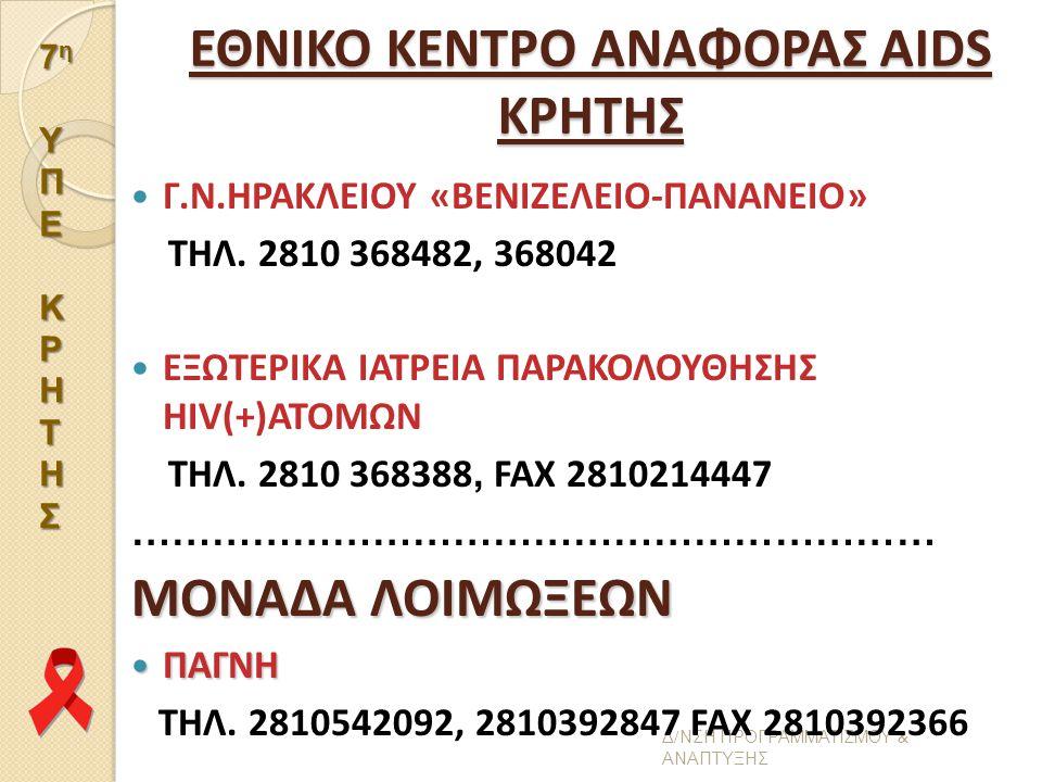 ΕΘΝΙΚΟ ΚΕΝΤΡΟ ΑΝΑΦΟΡΑΣ AIDS ΚΡΗΤΗΣ