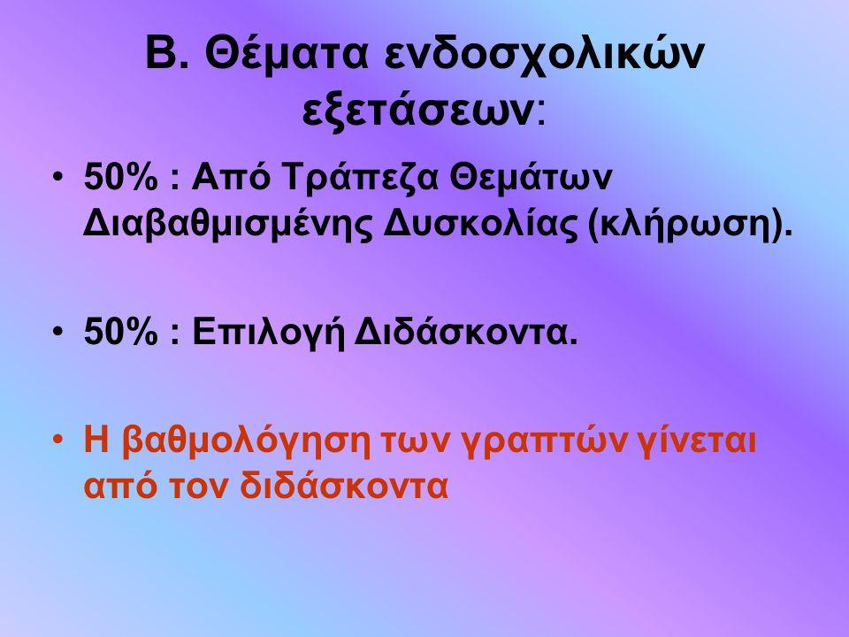 Β. Θέματα ενδοσχολικών εξετάσεων:
