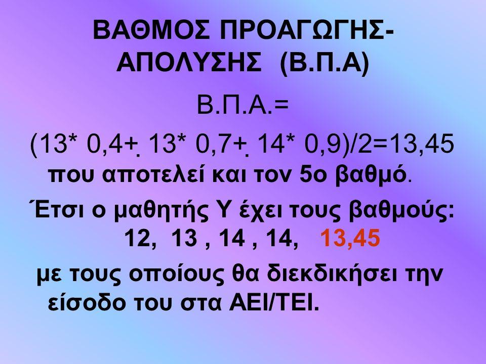 ΒΑΘΜΟΣ ΠΡΟΑΓΩΓΗΣ-ΑΠΟΛΥΣΗΣ (Β.Π.Α)