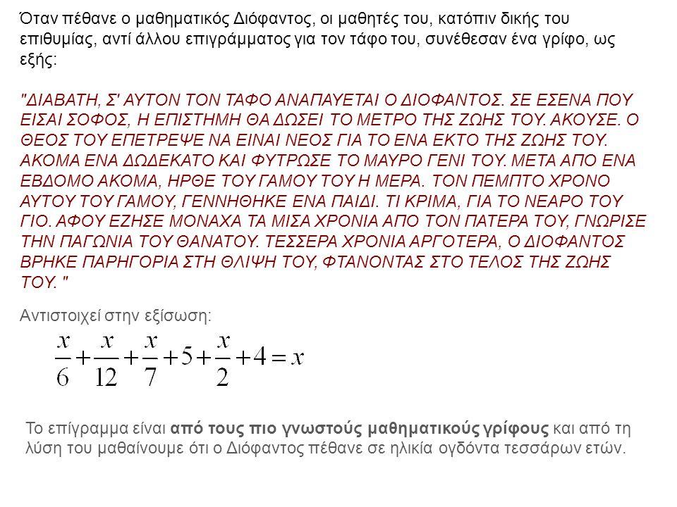 Αντιστοιχεί στην εξίσωση: