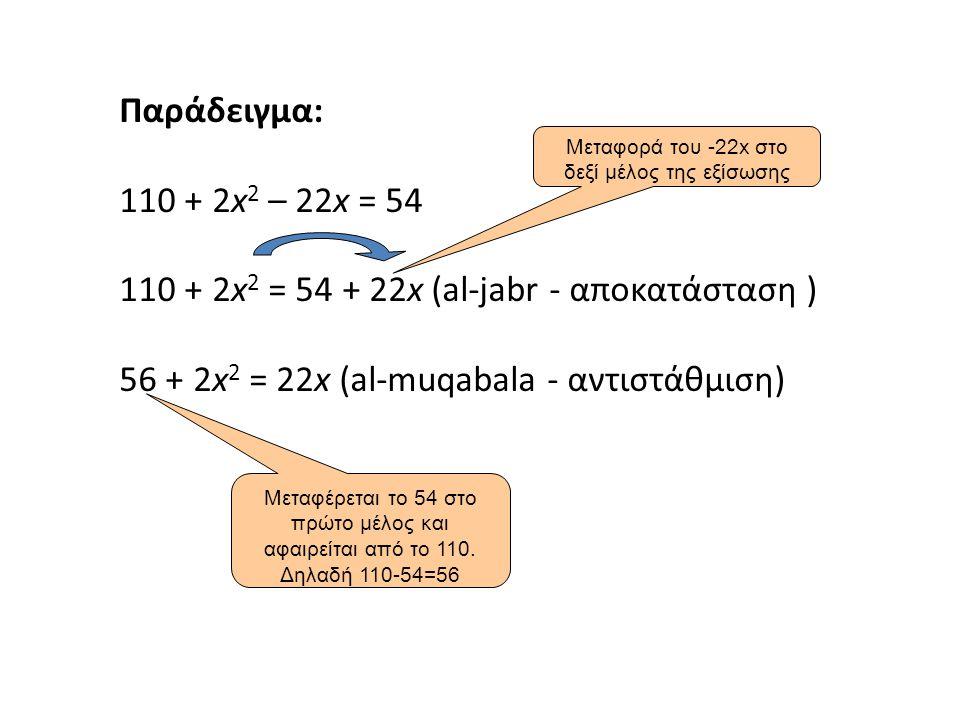 Μεταφορά του -22x στο δεξί μέλος της εξίσωσης