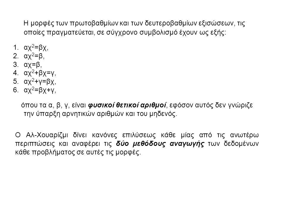 Η μορφές των πρωτοβαθμίων και των δευτεροβαθμίων εξισώσεων, τις οποίες πραγματεύεται, σε σύγχρονο συμβολισμό έχουν ως εξής: