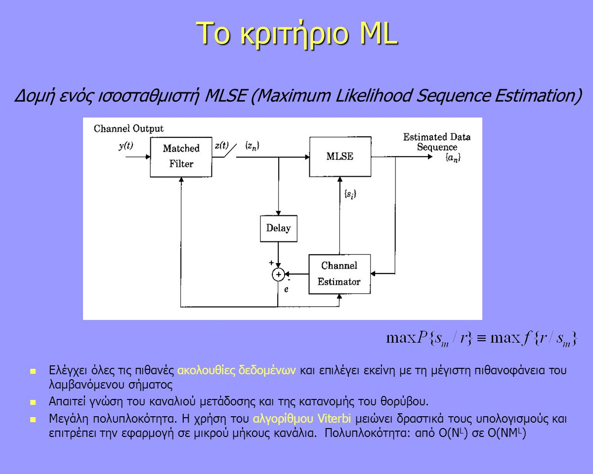 Δομή ενός ισοσταθμιστή MLSE (Maximum Likelihood Sequence Estimation)