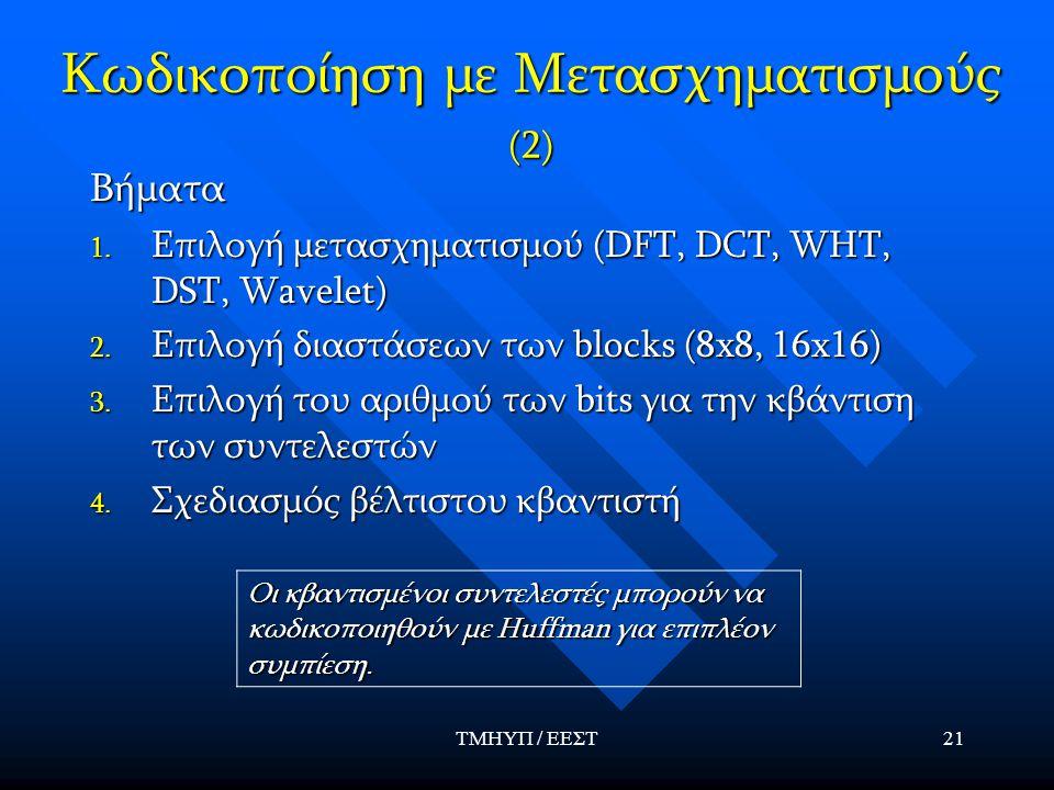 Κωδικοποίηση με Μετασχηματισμούς (2)