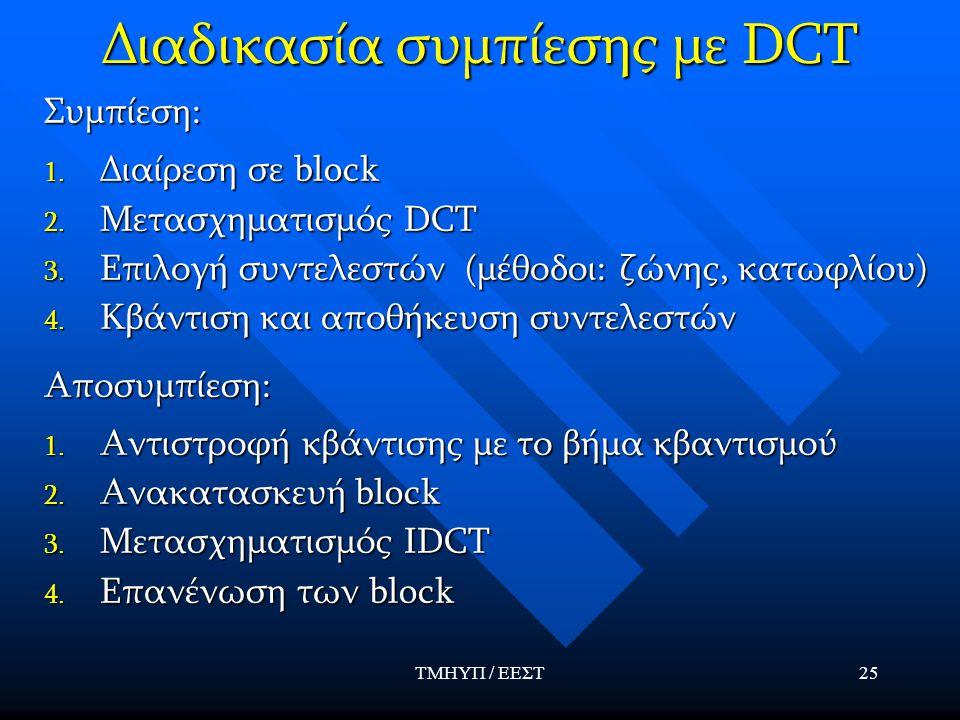 Διαδικασία συμπίεσης με DCT